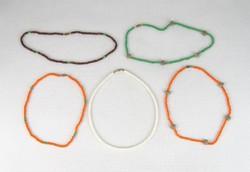 0T758 Retro színes gyöngysor nyaklánc csomag 5 db