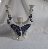 Pávás 3 ágú porcelán gyertyatartó / 2062