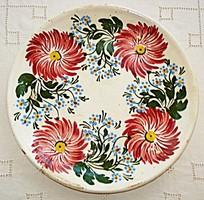 Antik, ónmázas Hódmezővásárhelyi tányér (1900-as évek eleje)