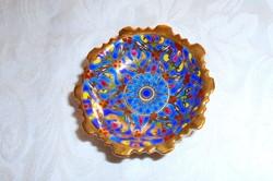 BEJARONG- színes zománc és arany díszítéssel kézi festett talpas gyűrű tálka