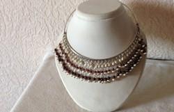 Gránát-igazgyöngy ezüst nyakpánt