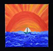 Absztrakt hajós festmény, modern vászon festmény