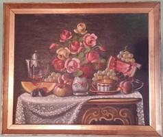 Festmény, csendélet, jelzett, 1941-ből, impulzív, dekoratív