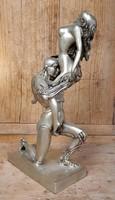 Erotikus bronz szobor nikkelezve