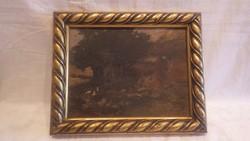 Neogrády Antal olaj-karton festmény falusi udvar