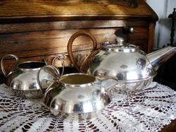 Art deko, ezüstözött, antik, 3 db-os, teás, kávés készlet, vesszővel font füllel.