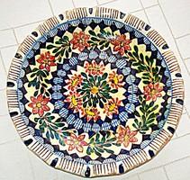 Antik, székelyföldi (barcasági) ónmázas kerámia tál (1800-as évek eleje)