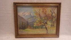 Tájkép festmény keretben
