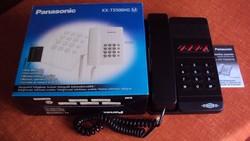 Új állapotú, Panasonic vonalas telefon, dobozában (fekete)-szerelékkel, használati utasítással