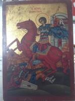Kézzel festett aranyozott ikon fa táblán