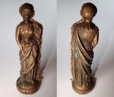 RITKASÁG! Befejezetlen régi bronz női szent figura szobor Szűz Mária szobor vallási dísztárgy