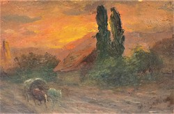 Pállya Carolus (Károly)(1875-1945) tájkép c. olajfestménye EREDETI GARANCIÁVAL !!!!!