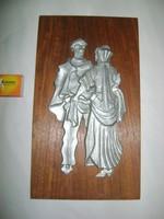 Retro falikép - táncos pár - alu, fa