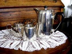 Álomszép, ezüstözött, art deko teás kanna tejszínes kiöntővel, cukortartóval