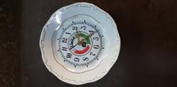 Zsolnay aranyozott mintás porcelán fali óra