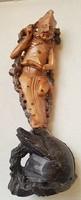 """Antik zsírkő szobor """" KELETI BÖLCS"""",felirattal a hátoldalon, 25 cm"""