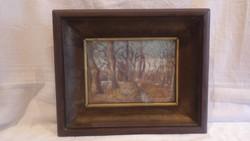 Olaj-karton , erdei patak tájkép festmény vastag fa képkeret