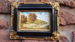 Jelzett olaj festmény, EXKLUZÍV KÉP, antik, barokk képkeret, egyedi, luxus kivitel