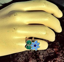 Káprázatos antik 925 ezüst gyűrű tüzzománc virág. Nyitható, állítható méret.