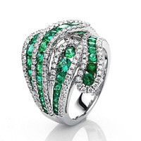 925-s töltött ezüst (Silver Filled) gyűrű smaragd és fehér CZ kristályokkal