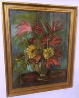 Frank Frigyes jelzéssel 61,5 cm X 76,5 cm olaj, karton virágcsendélet