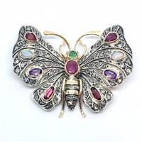 644. Pillangó Formájú Bross-Melltű Drágakövekkel