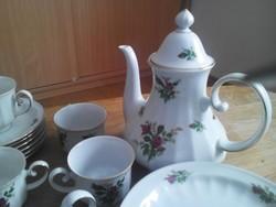 Vadrózsa mintás porcelán kávés készlet