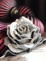 6 db ezüst csillámos csiptetős romantikus rózsa karácsonyfadísz