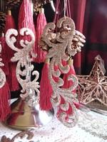 Szépséges barokk karácsonyfadísz csillámló pezsgő színben