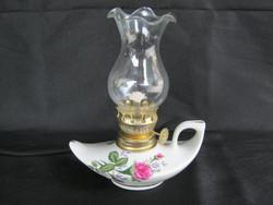 Rózsás porcelán aljú petróleumlámpa
