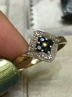 Zafír-brillköves káprázatos 14K 585 arany gyűrű 18mm átmérő Gyémántokkal