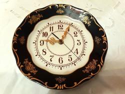 Zsolnay aranyozott mintás porcelán pompadour 1 fali óra