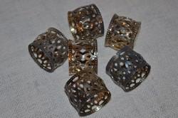 6 db ezüstözött, áttört mintás szalvéta gyűrű