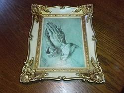 Antik ,aranyozott képkeretben, imátkozós kéz,\ceruza rajz\