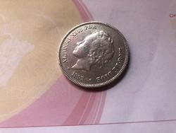 1893 Spanyol ezüst 5 peseta 25 gramm 0,900