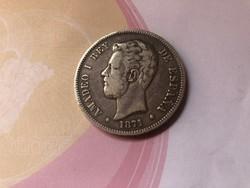 1871 Spanyol ezüst 5 peseta gyönyörű patinás 25 gramm 0,900
