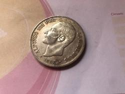 1882 Spanyol ezüst 5 peseta 25 gramm 0,900 szép db ritkább