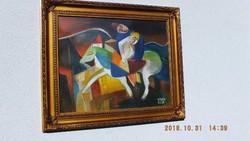 Kádár Béla, kompozíció,40x50-s,olaj,karton