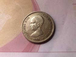 1889 Spanyol ezüst 5 peseta 25 gramm 0,900