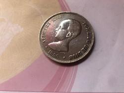 1890 Spanyol ezüst 5 peseta 25 gramm 0,900 szép db