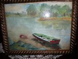 Szőnyi István (1894-1960) szignált szép vízparti festménye keretben