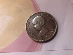 1891 Spanyol ezüst 5 peseta 25 gramm 0,900 szép db