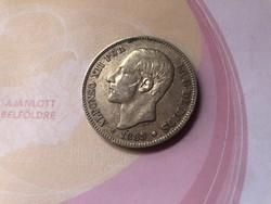 1885 Spanyol ezüst 5 peseta 25 gramm 0,900 szép db