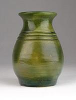 0T908 Régi zöld mázas kerámia kisváza
