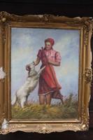 Sziklai Lajos - Leány kutyával