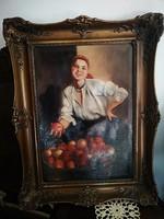 Várady István - Parasztlány almáskosárral