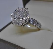 Különleges antik valódi 1,9ct gyémánt 18kt aranygyűrű VIDEO