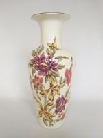 Új, Zsolnay 26cm. kézzel festett Virágos váza. Hibátlan!