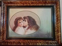 Testvéri szeretet (csodaszép antik olaj-vászon)