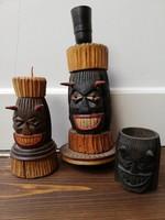 Faragott ördögfej testű falikar lámpa, gyertya és mécsestartó